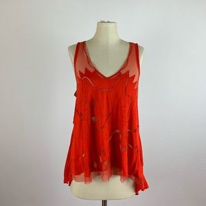 Free People New Romantic's Open Back Red Tank